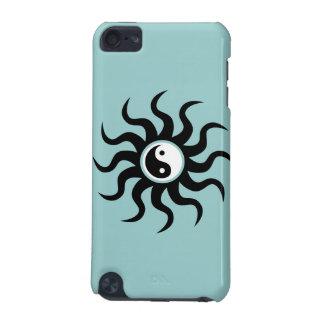 Yin-Yang Sun-Black/White on Soft Blue iPod Touch (5th Generation) Case