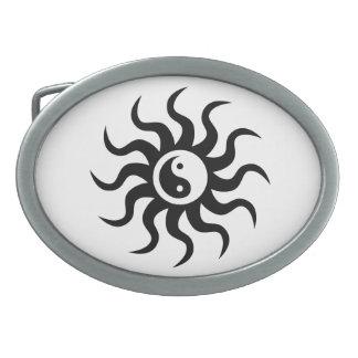 Yin-Yang Sun-Black/White Oval Belt Buckle