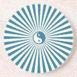 Yin-Yang Sun Rueda-Azul/blanco Posavasos Cerveza