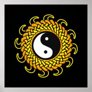 Yin Yang Sun trenzado Póster