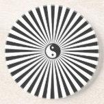 Yin-Yang Sun Wheel-Black/White Coasters