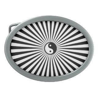 Yin-Yang Sun Wheel-Black/White Oval Belt Buckle