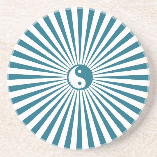 Yin-Yang Sun Wheel-Blue/White Coaster