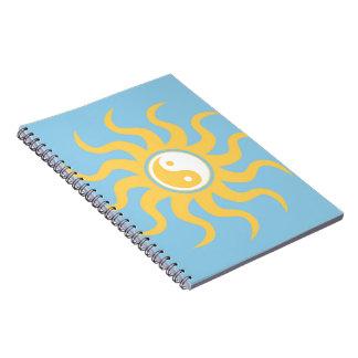 Yin yang sunshine spiral notebook