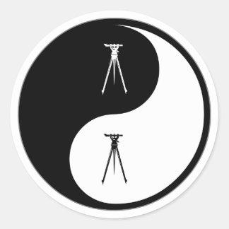 Yin Yang Surveying Classic Round Sticker