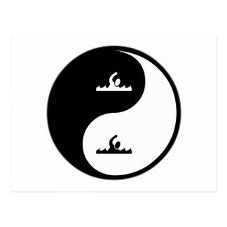 Yin Yang Swimming Post Cards