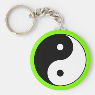 Yin Yang Symbol Black White Green Keychain
