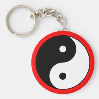 Yin Yang Symbol Black White Red Keychain