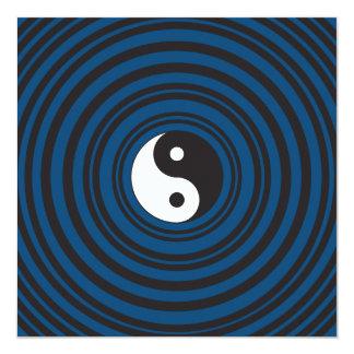 Yin Yang Symbol Blue Concentric Circles Ripples Card