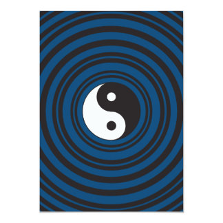 Yin Yang Symbol Blue Concentric Circles Ripples Card