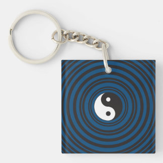 Yin Yang Symbol Blue Concentric Circles Ripples Double-Sided Square Acrylic Keychain