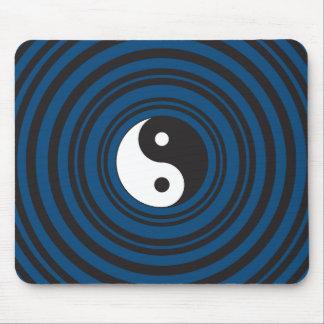 Yin Yang Symbol Blue Concentric Circles Ripples Mouse Pad