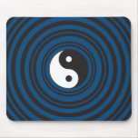 Yin Yang Symbol Blue Concentric Circles Ripples Mousepad