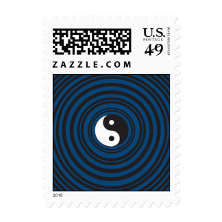 Yin Yang Symbol Blue Concentric Circles Ripples Postage Stamp
