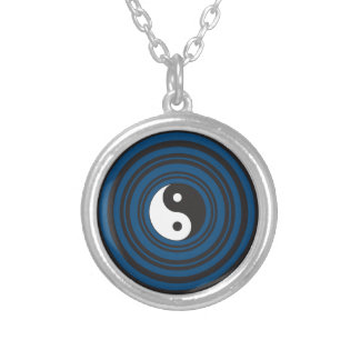 Yin Yang Symbol Blue Concentric Circles Ripples Silver Plated Necklace