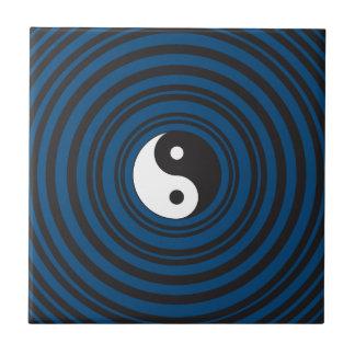 Yin Yang Symbol Blue Concentric Circles Ripples Ceramic Tile