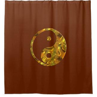 Yin & Yang Symbol gold + your backgr. & ideas Shower Curtain