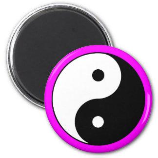 Yin Yang Symbol Magenta Refrigerator Magnet