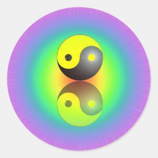 Yin & Yang symbol on Chakra colors motive 1 Stickers
