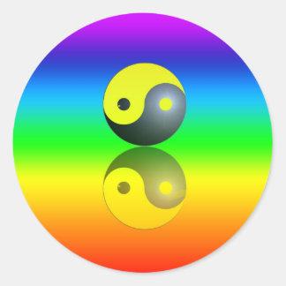 Yin & Yang symbol on Chakra colors motive 1 Sticker