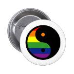 Yin-Yang-Symbol-Rainbow Pinback Button