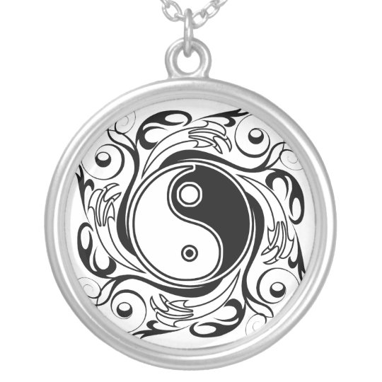 Yin & Yang Symbol Silver Plated Necklace