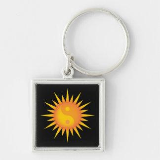 Yin yang symbol sun square keychain