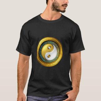Yin-Yang T-Shirt, Golden ring on blue green mosaic T-Shirt