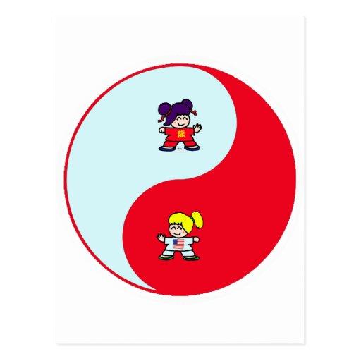 yin yang tai t'ai chi ji martial arts cute girls postcard