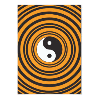Yin Yang Taijitu Symbol Orange Black Circles Card