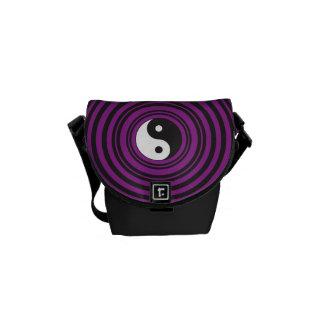 Yin Yang Taijitu symbol Purple Black Circles Messenger Bag