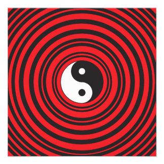 Yin Yang Taijitu Symbol with Red Circles Pattern Invites
