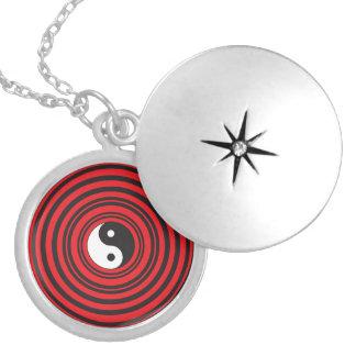 Yin Yang Taijitu Symbol with Red Circles Pattern Locket Necklace