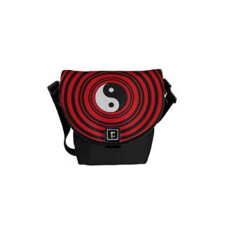 Yin Yang Taijitu Symbol with Red Circles Pattern Courier Bags