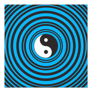 Yin Yang Taijitu symbol with Teal Blue Circles Card
