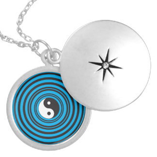 Yin Yang Taijitu symbol with Teal Blue Circles Locket Necklace