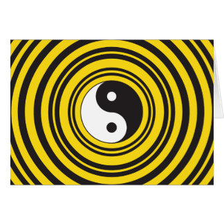 Yin Yang Taijitu symbol Yellow Black Ripples Card