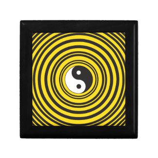 Yin Yang Taijitu symbol Yellow Black Ripples Gift Box
