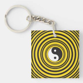 Yin Yang Taijitu symbol Yellow Black Ripples Acrylic Key Chain