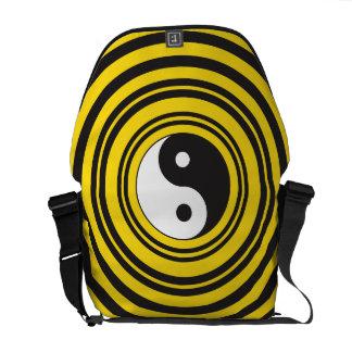 Yin Yang Taijitu symbol Yellow Black Ripples Courier Bag