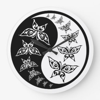 Yin Yang Tao Butterflies Black And White Large Clock