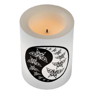 Yin Yang Tao Butterflies Spiritual Black White Flameless Candle