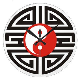 Yin & Yang Tattoo - red black Large Clock