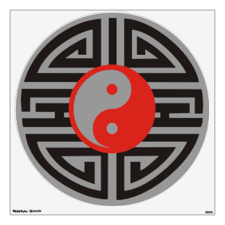 Yin & Yang Tattoo Yantra - grey red black Room Stickers
