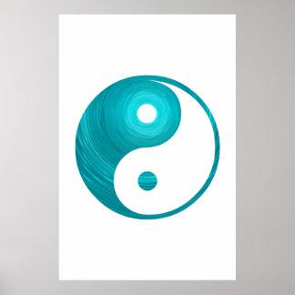 Yin Yang Teal Blue Aqua Spiral Template Yin-Yang Poster