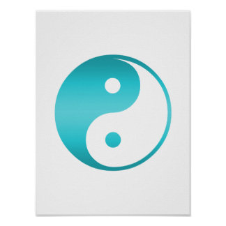Yin Yang Teal Blue Illustration Template Poster