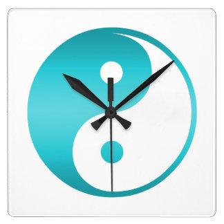 Yin Yang Teal Blue IllustrationTemplate Yin-Yang Square Wall Clock
