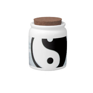 Yin Yang Teal Flame Candy Jars