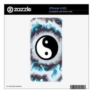 Yin Yang Teal Flame iPhone 4S Decals