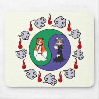 Yin & Yang The Cute Kitsune Sisters (Fox Girls) Mouse Pad
